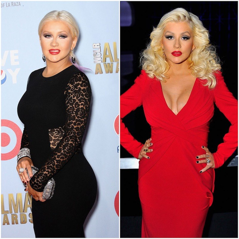 Christina Aguilera on the left in 2012, and on the right looking much slimmer
