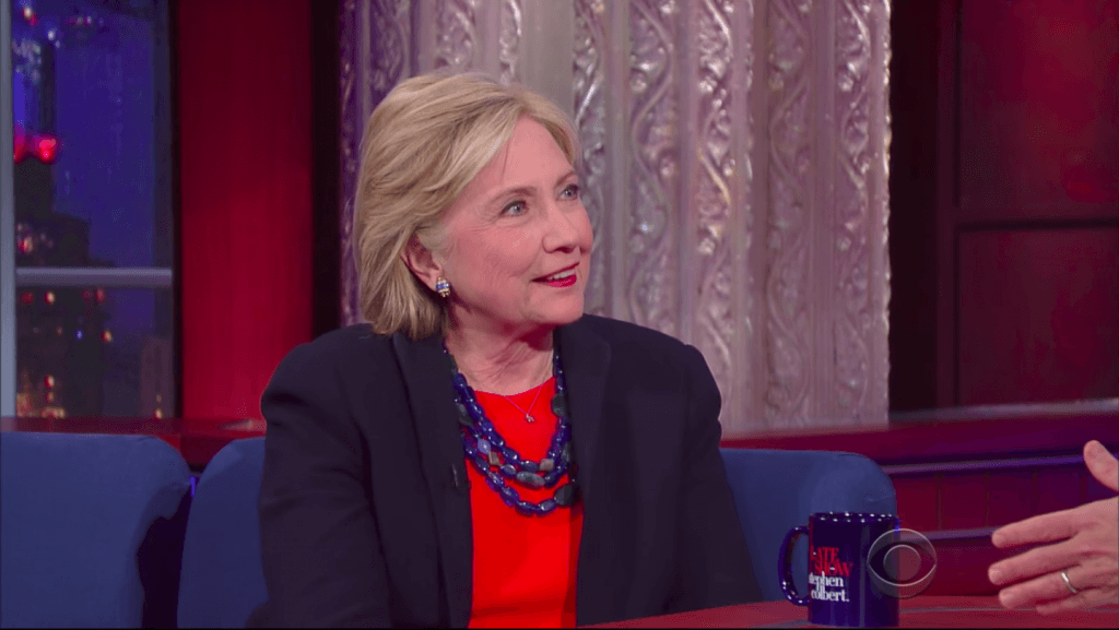 Hillary Clinton is interviewed on The Late Show With Stephen Colbert