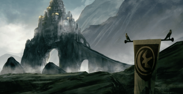 A dark castle seen among high mountains.
