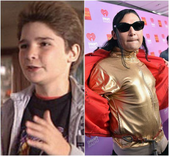 Corey Feldman in his youth and Corey Feldman with a crazy hairstyle and outfit.