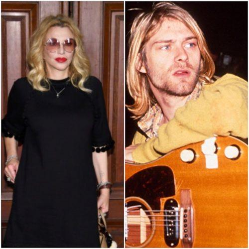 A collage showing Courtney Love and Kurt Cobain side by side.