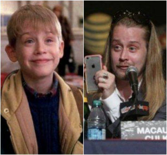 Macaulay Culkin as a child and as an adult speaking at a panel.