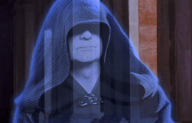Darth Plagueis standing in a hologram message.