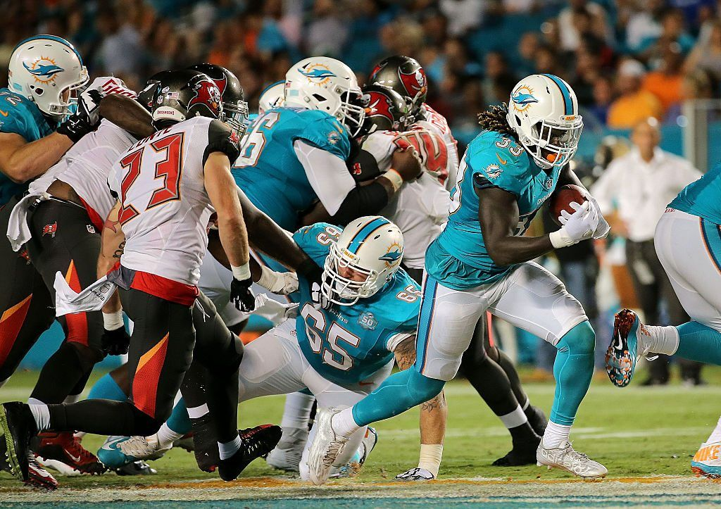 Jay Ajayi rushes during a preseason game
