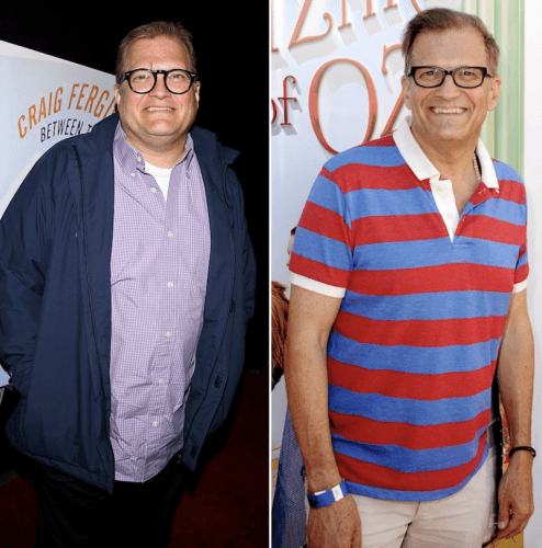 A collage showing Drew Carey's weight loss.