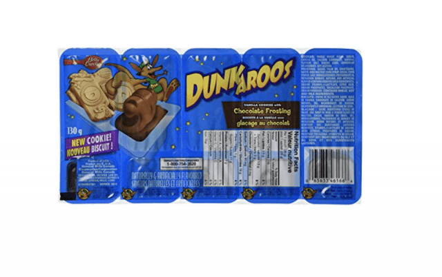 A blue pack of Dunkaroos on a white background.