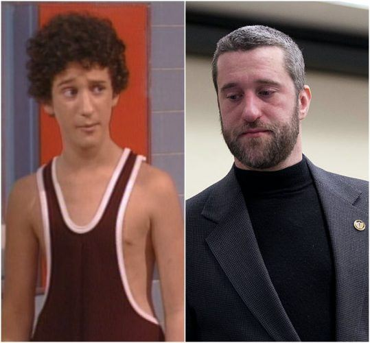 Dustin Diamond in his youth and Diamond in 2015 during a court hearing.