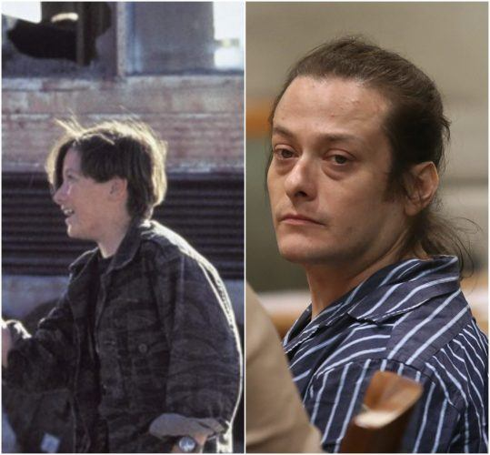 Kenny Furlong in his role in Terminator 2 and Furlong in court for assaulting his girlfriend in 2013.