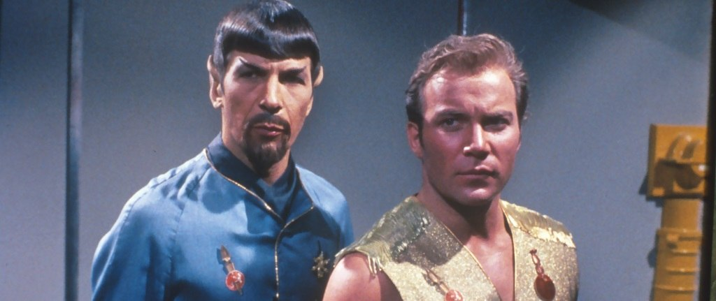 'Evil' Spock and Kirk staring intensely