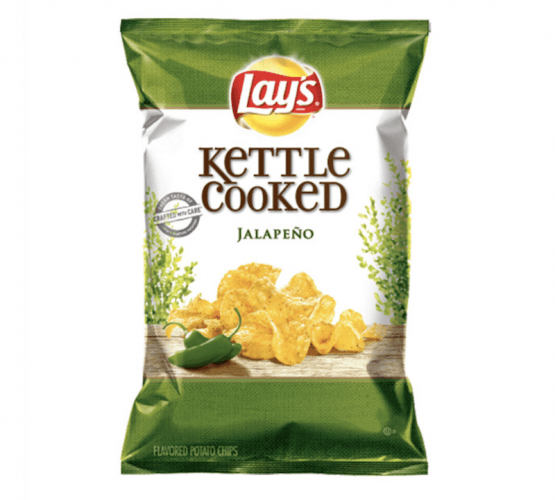 A bag of Lay's Kettle Cooked Jalapeño chips.