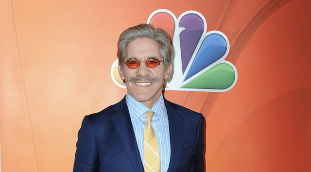 Geraldo Rivera standing in front of an NBC logo.