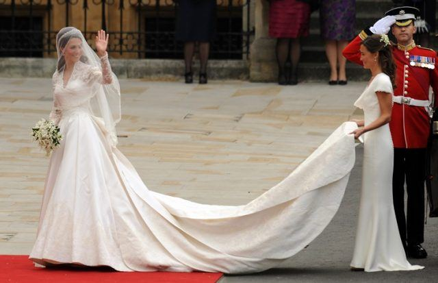 Pippa Middleton holds her sister Kate Middleton's train at her 2011 wedding to Prince William.