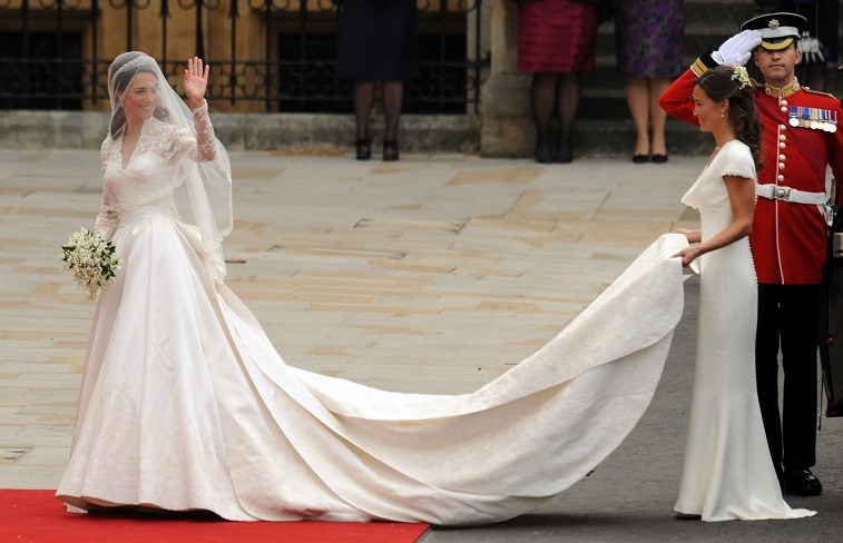 Pippa Middleton holds her sister Kate Middleton train at her 2011 wedding to Prince William.