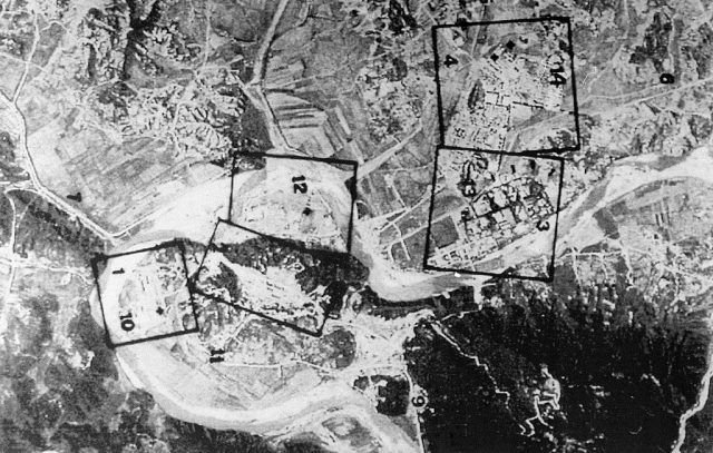A French satellite image taken in March 1994 showing an aerial view of North Korea's Yongbyon nuclear complex, 95 kilometers (60 mile) north of Pyongyang.