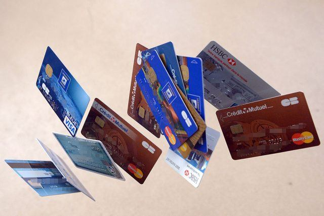 Credit cards falling down are pictured