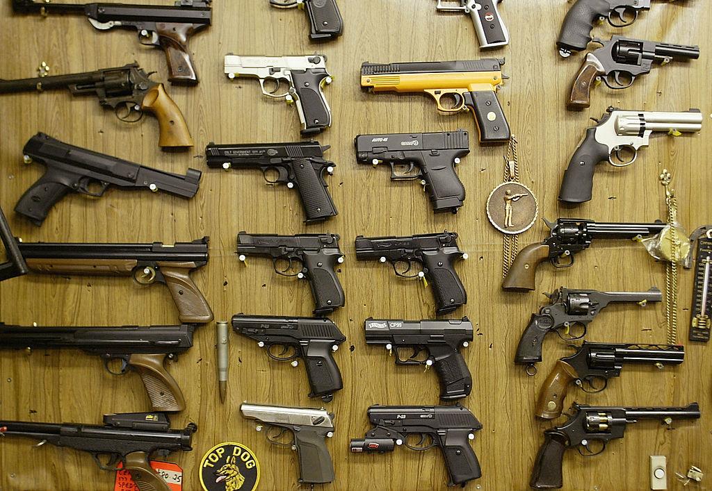 rows of guns