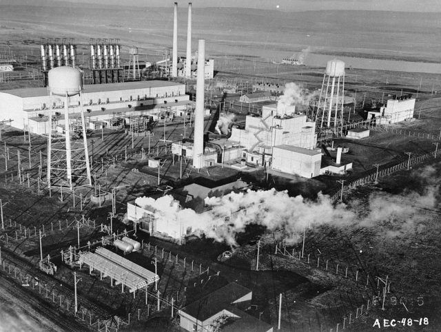 circa 1955: The American Atomic Energy Commision's plutonium production plant at Hanford, Washington.   Evans/Three Lions/Getty Images