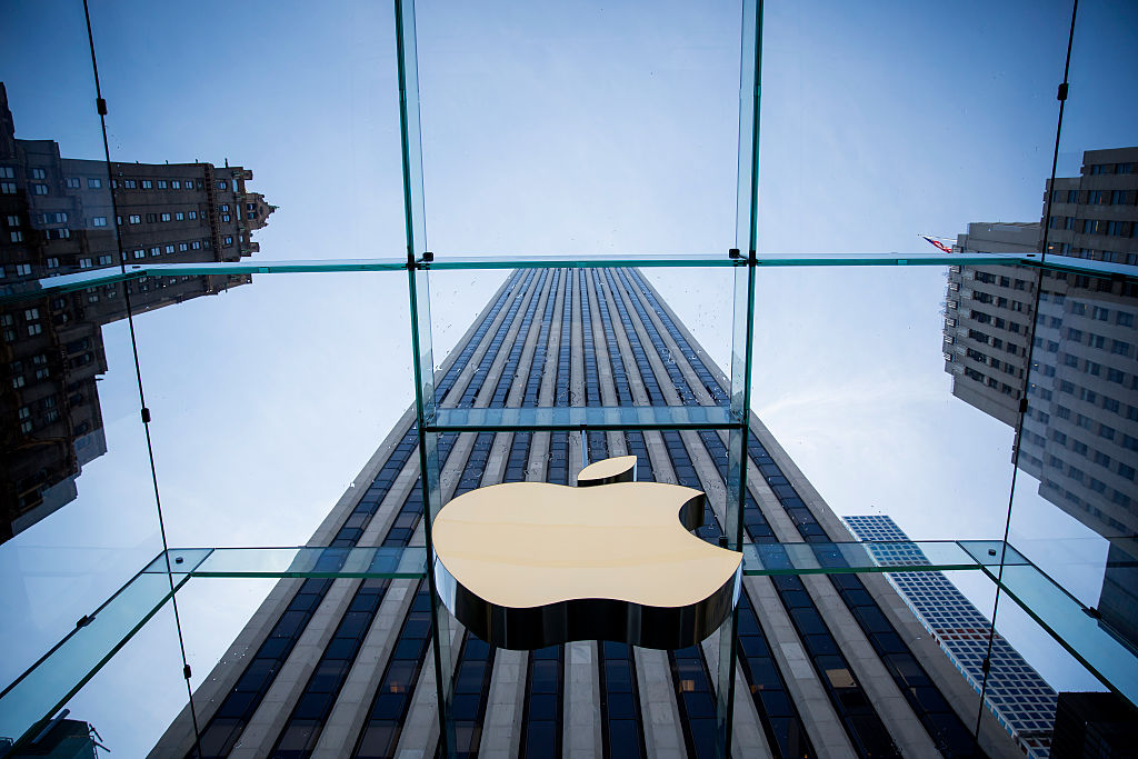 The Apple logo is displayed at the Apple Store on Fifth Avenue in New York City.