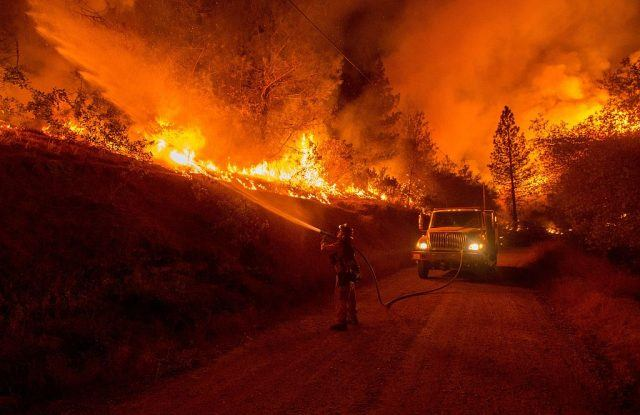 A firefighter douses flames from a backfire while battling the Butte fire near San Andreas, California on September 12, 2015.