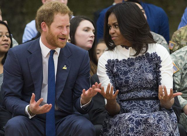 US First Lady Michelle Obama and Britain's Prince Harry