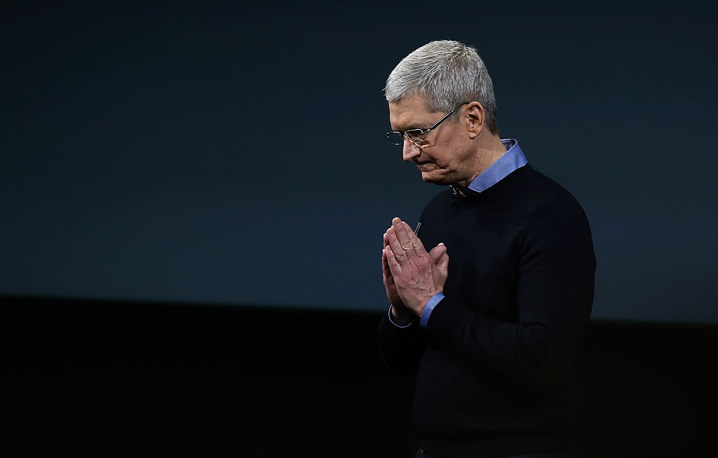 Apple CEO Tim Cook speaks during an Apple special event at the Apple headquarters