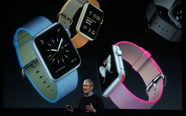 Apple CEO Tim Cook speaks about the Apple Watch during an Apple special event at the Apple headquarters