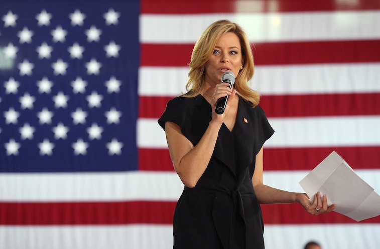 Actress Elizabeth Banks speaks during a Family Town Hall event with democratic presidential nominee former Secretary of State Hillary Clinton