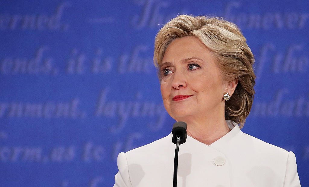 Hillary Clinton looking off to the left of the frame during a presidential debate