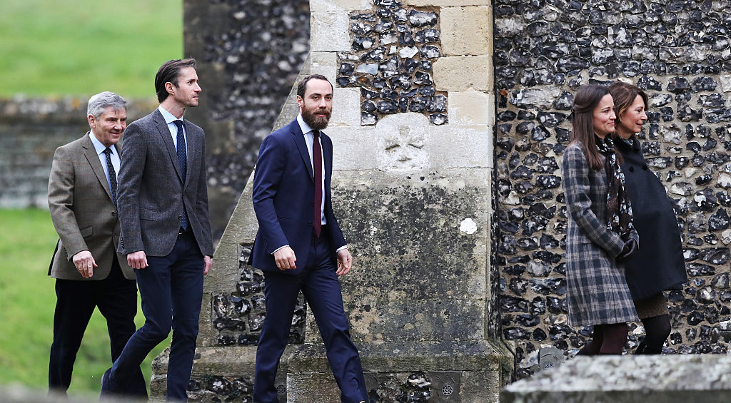 (L-R) Michael Middleton, James Matthews, James Middleton, Pippa Middleton and Carole Middleton arrive to attend the service at St Mark's Church on Christmas Day on December 25, 2016 in Bucklebury, Berkshire.