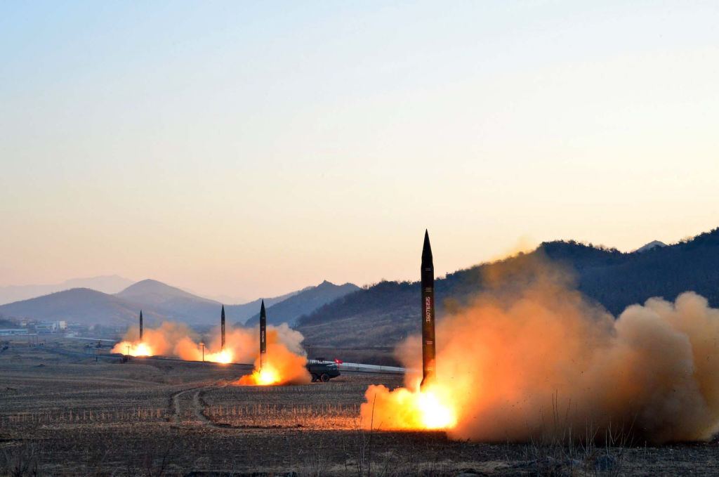 The launch of four ballistic missiles by the Korean People's Army (KPA) during a military drill at an undisclosed location in North Korea
