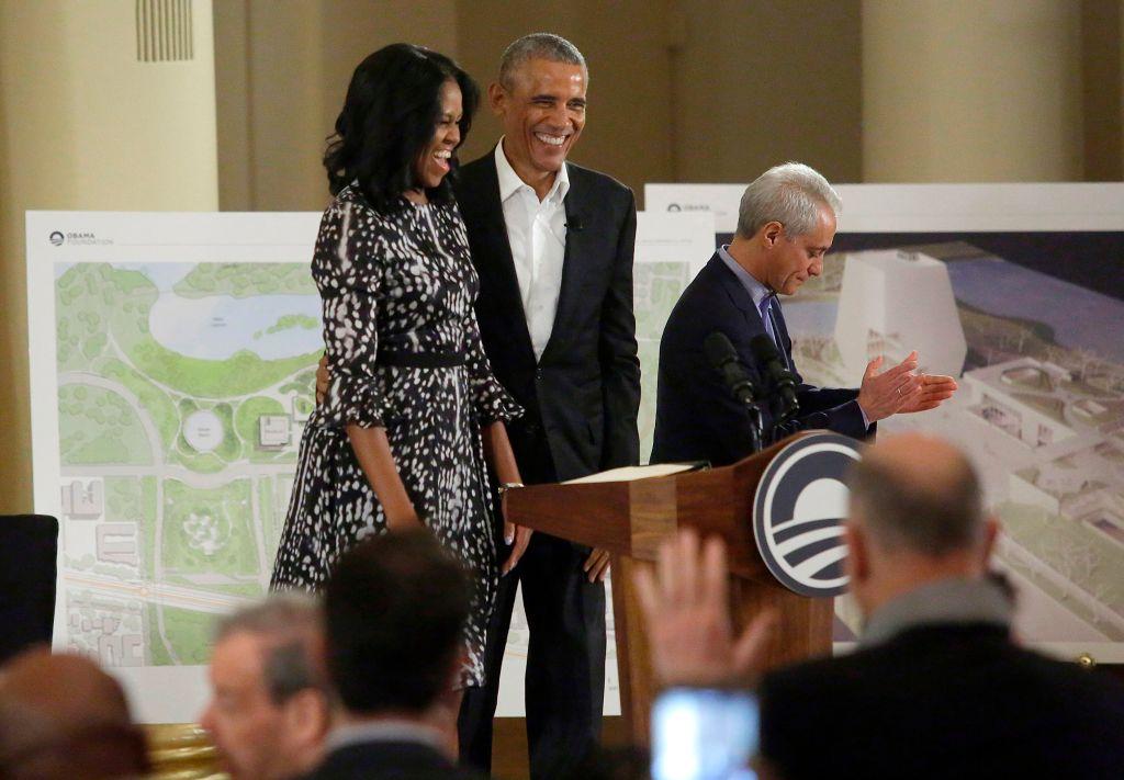Obamas and Chicago Mayor Rahm Emanuel