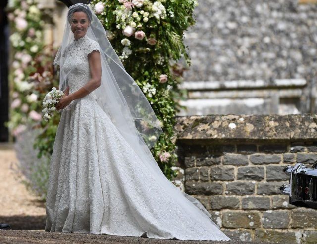 Pippa Middleton arrives for her wedding to James Matthews at St Mark's Church in Englefield, west of London, on May 20, 2017.
