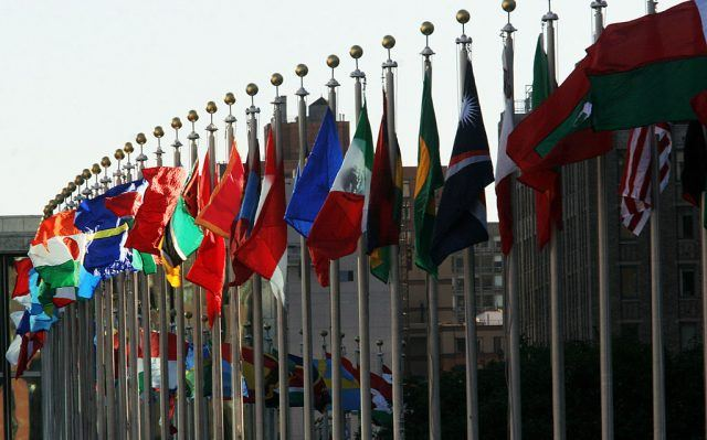 flags flying outside the UN general assembly