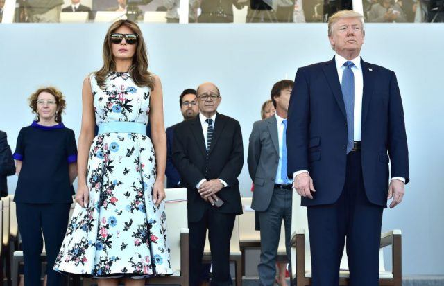 US First Lady Melania Trump (L) and US President Donald Trump
