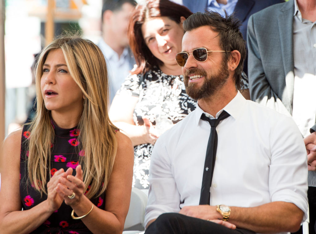 Jennifer Aniston and Justin Theroux attend Jason Bateman's star unveiling ceremony on the Hollywood Walk of Fame.