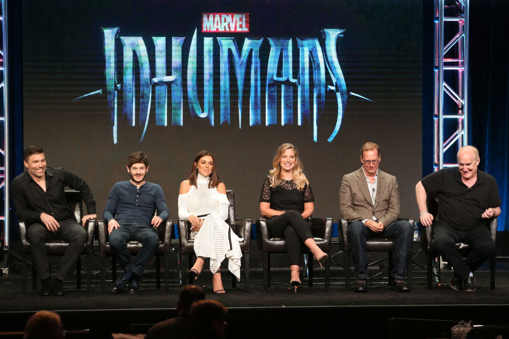 Anson Mount, Iwan Rheon, Serinda Swan, Ellen Woglom, executive producers Scott Buck and Jeph Loeb of 'Inhumans' speak onstage during the 2017 Summer Television Critics Association Press Tour on August 6, 2017.