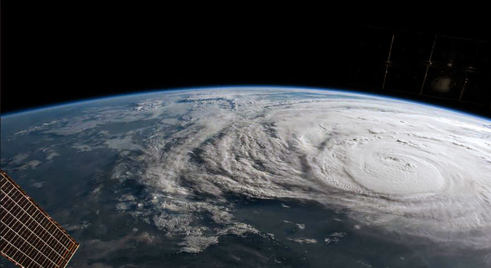 Hurricane Harvey is photographed aboard the International Space Station as it intensified on its way toward the Texas coast