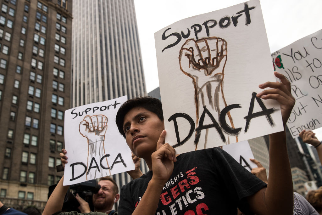 Immigration activists rally in support of the Deferred Action for Childhood Arrivals program.