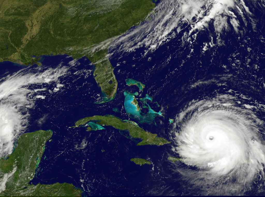 NOAA's GOES satellite shows Hurricane Irma as it moves towards the Florida Coast in the Caribbean Sea