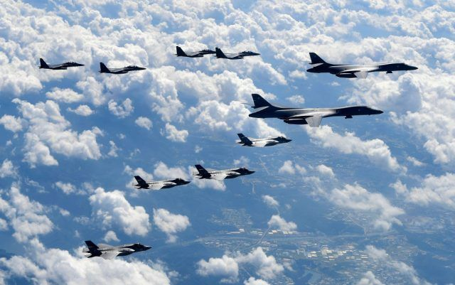 Lancer bombers flying with F-35B fighter jets and South Korean Air Force F-15K fighter jets during a training at the Pilsung Firing Range