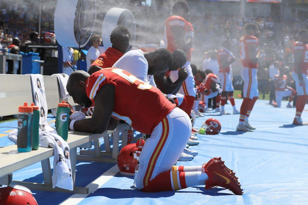 Justin Houston of the Kansas City Chiefs is seen taking a knee during the National Anthem before the game against the Los Angeles Chargers on September 24, 2017 in Carson, California.