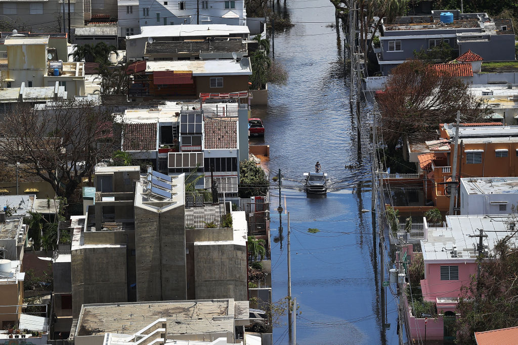 Boat on a flooded Puerto Rico street