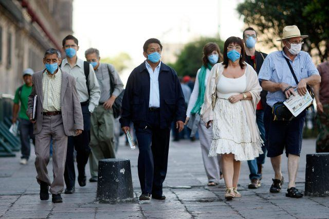 Group of people in medical masks