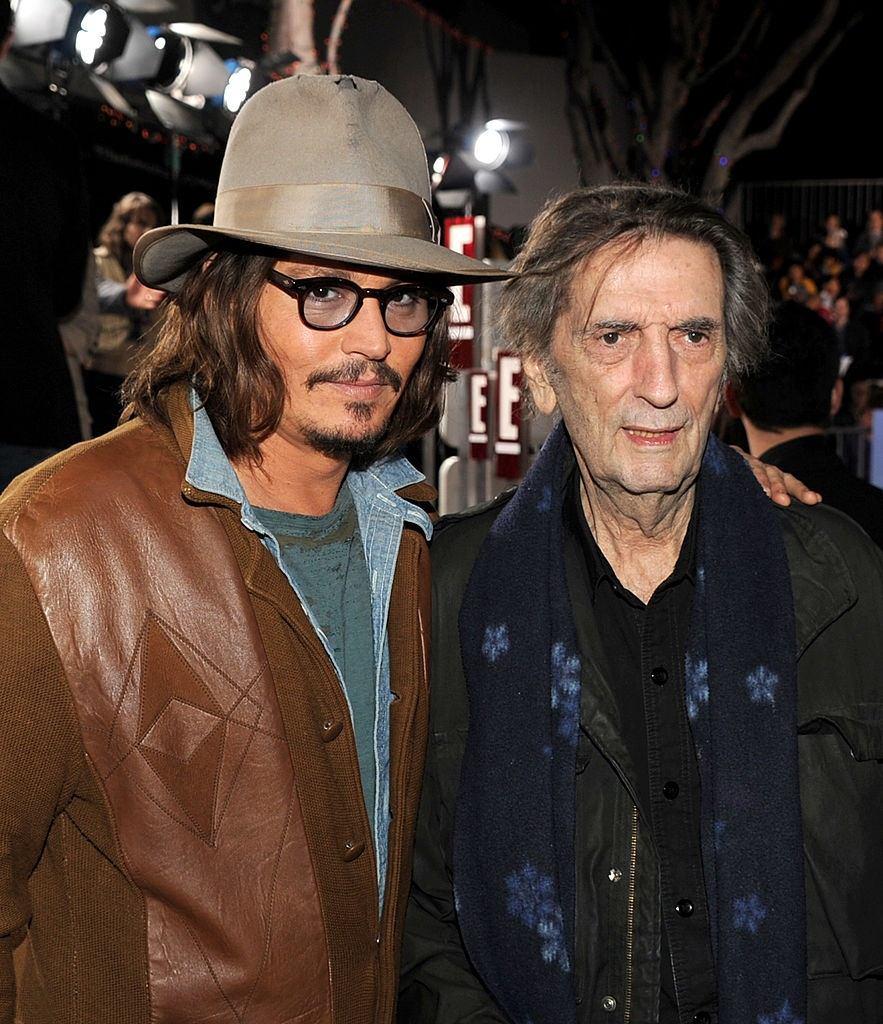 Actors Johnny Depp and Harry Dean Stanton at Rango premiere.
