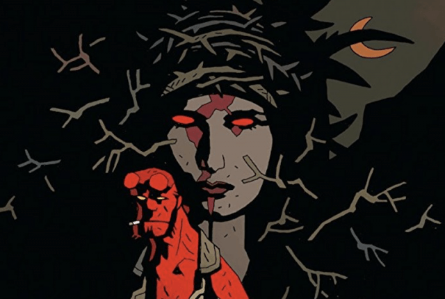 Hellboy with a cigarette in his mouth standing in front of the blood queen, thorns and the moon.