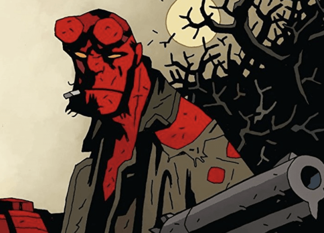 Hellboy holding a weapon while holding a cigarette in his hand.
