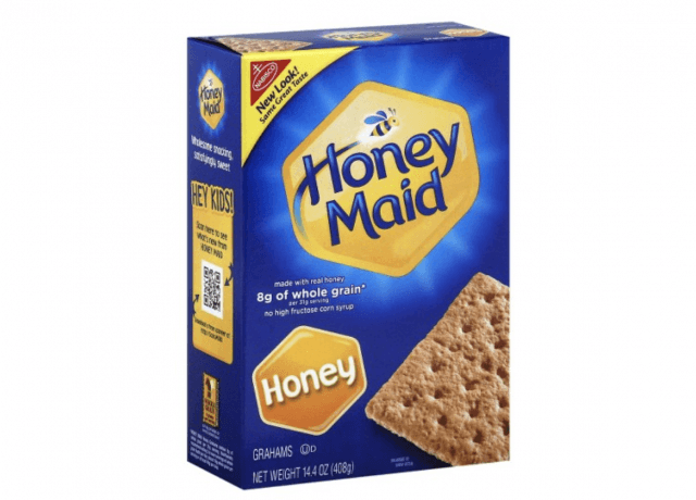 A box of Honey flavored Honey Maid Crackers.