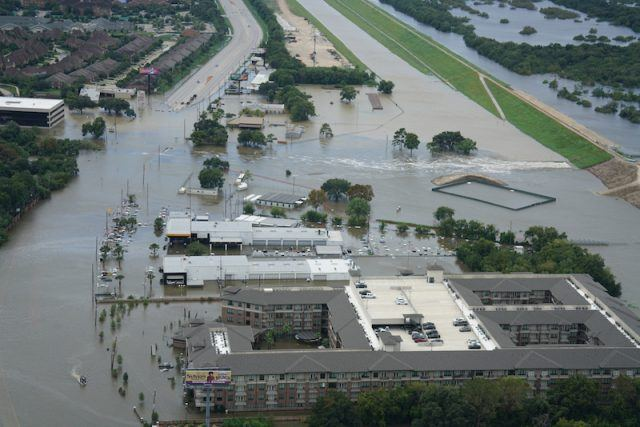 Buildings and houses flooded by Hurricane Harvey.