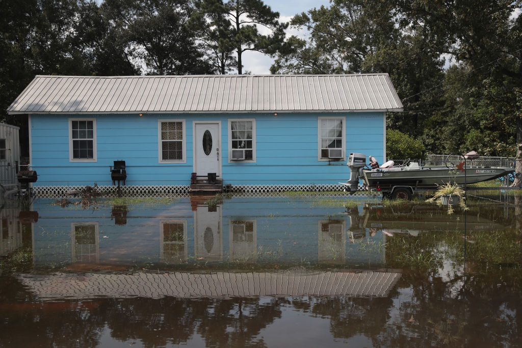 Floodwater surrounds a home after Hurricane Harvey.