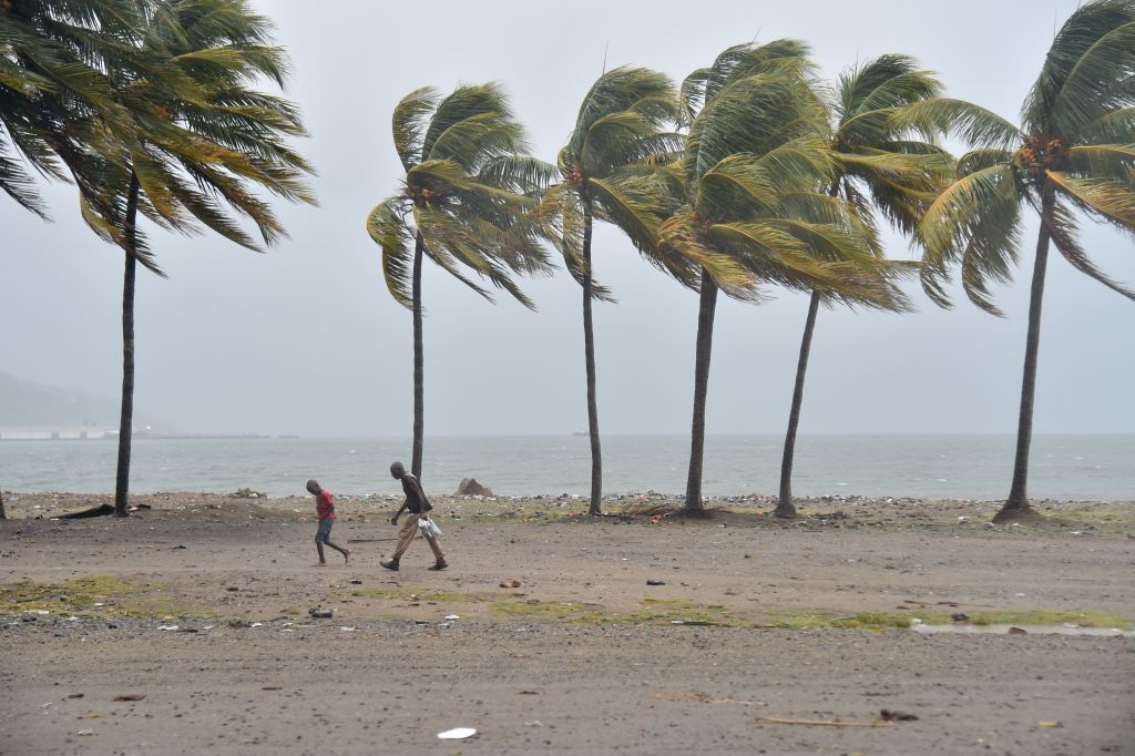 Hurricane Irma winds on a beach